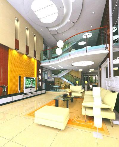 wohnzimmer interieur design szene gelb 3d model download