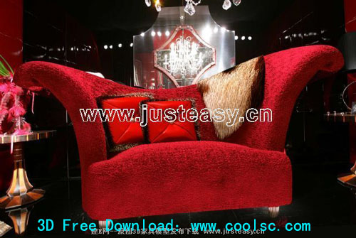 Red Sofa Stoff 3D-Modell