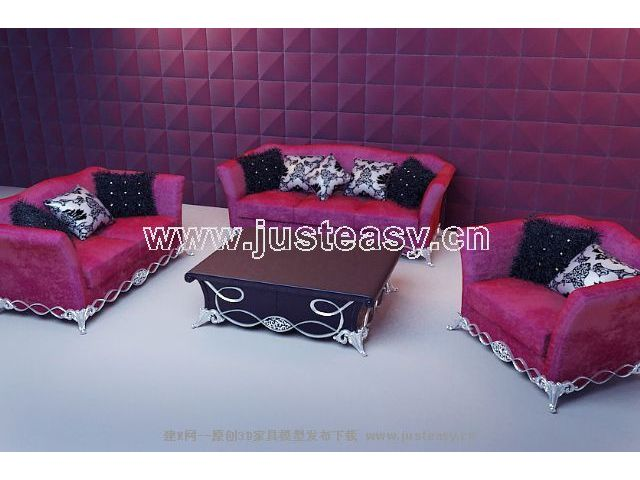 Soft rotem Stoff Sofa 3D-Modell (inkl. Material)