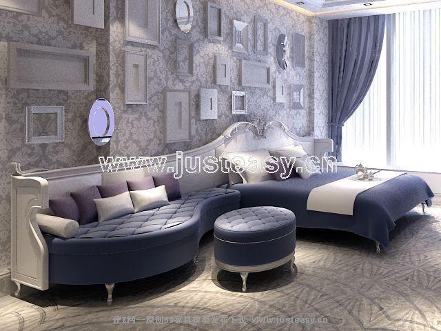Sofa und bett 3d modell einschlie lich materialien 3d for Sofa bett kombination