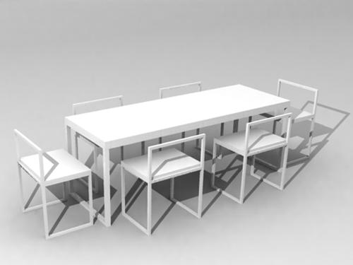 3d modell der wei e rechteckige esstische und st hle 3d model download free 3d models download. Black Bedroom Furniture Sets. Home Design Ideas