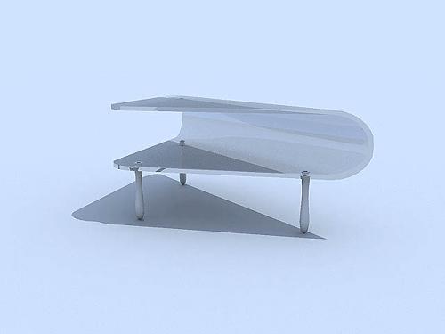 Weiß Couchtisch aus Glas 3DModell der Mode 3D Model