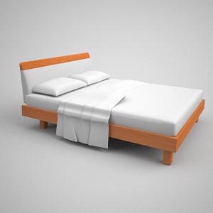 einfache 3d modell des simmons matratzen holzbett 3d model. Black Bedroom Furniture Sets. Home Design Ideas