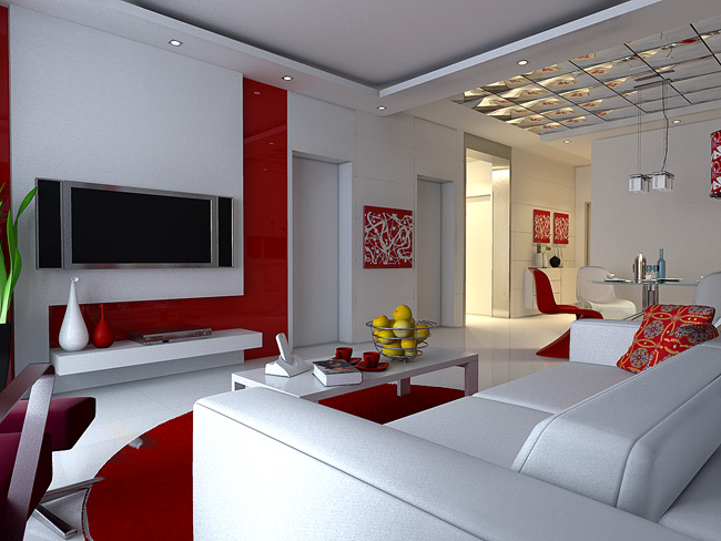 Red personalisierte wohnzimmer modell 3d model download for Simulador cocinas 3d