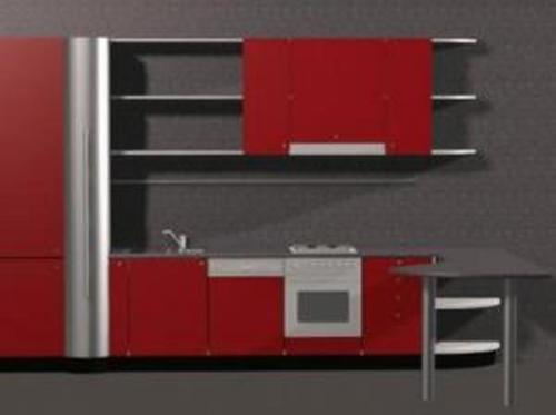 Red Theme Kitchen 3D-Modelle