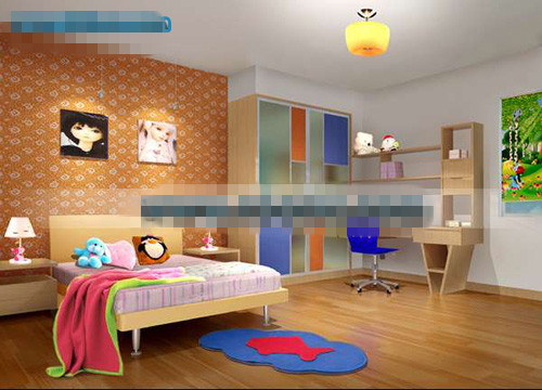 orange sch nes kinderzimmer 3d model download free 3d models download. Black Bedroom Furniture Sets. Home Design Ideas