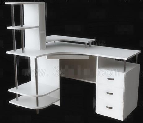 Einfache wei e computertisch 3d model download free 3d for Schreibtisch 3d modell