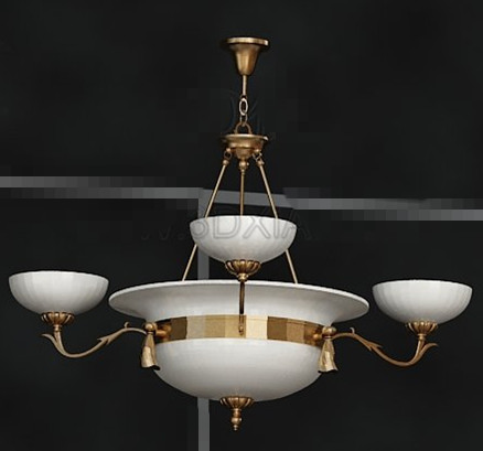 Gold seite wundersch ne wei e kronleuchter 3d model for Lampen 3d modelle