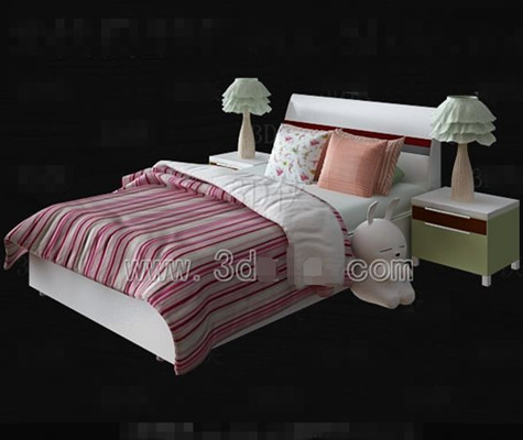 rosa und wei e bettw sche kinderbett 3d model download. Black Bedroom Furniture Sets. Home Design Ideas