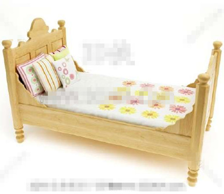 grundfarbe aus holz kinderbett 3d model download free 3d models download. Black Bedroom Furniture Sets. Home Design Ideas