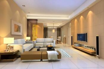 Moderne warme Farbe geräumiges Wohnzimmer 3D Model Download ...