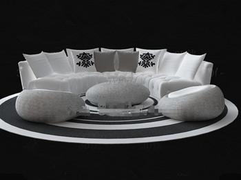 runde wei e sofa kombination 3d model download free 3d models download. Black Bedroom Furniture Sets. Home Design Ideas