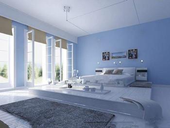 komfortable minimalistischen hellblau zimmer 3d model. Black Bedroom Furniture Sets. Home Design Ideas