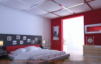 Modern und stilvoll weiß rot Schlafzimmer 3D Model ...
