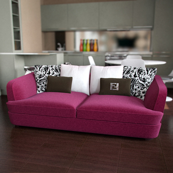 Die Rose roten Sofa Multiplayer 3D-Modelle