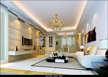 Die Goldene Moderne Wohnzimmer 3D Modell