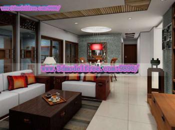 Die Blaue Ziegel Modernen Chinesischen Wohnzimmer 3D Modell